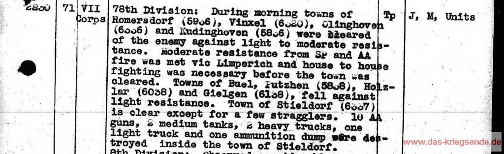 Gefechtsbericht über den Tagesverlauf bei der 78th US Infanteriedivision. 20. März 1954