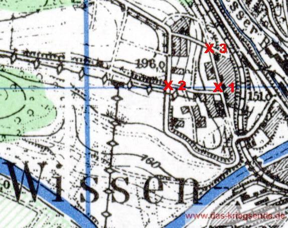 X 1 = Der Todesort des Gefreiten Glänzel. X 2 = Die Kreuzung, wo der deutsche Volkssturm durch Artilleriefeuer getroffen wurde. X 3 = ausgebaute MG42-Stellung