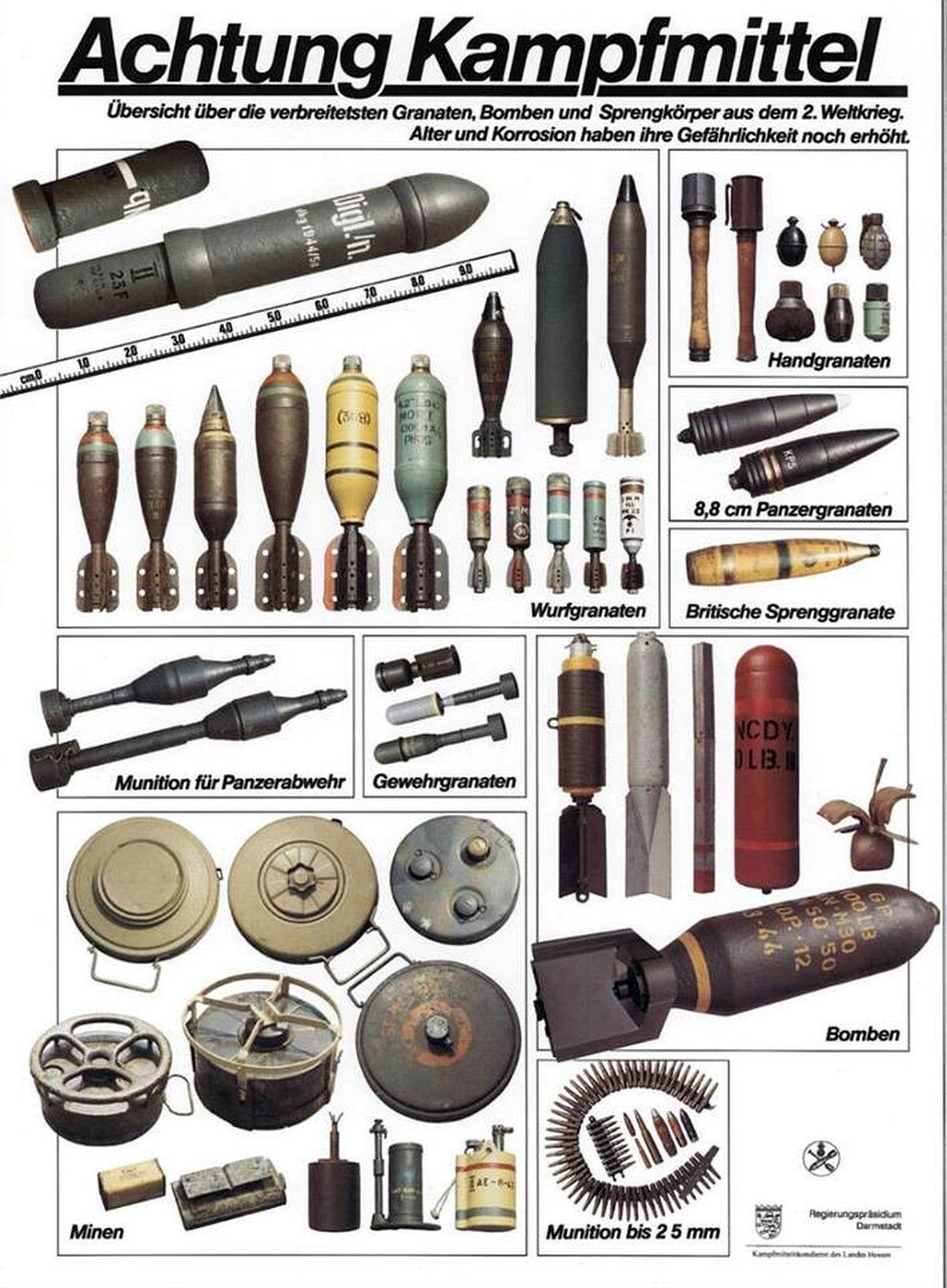 Beispiele verschiedener Kampfmittel aus dem Zweiten Weltkrieg.