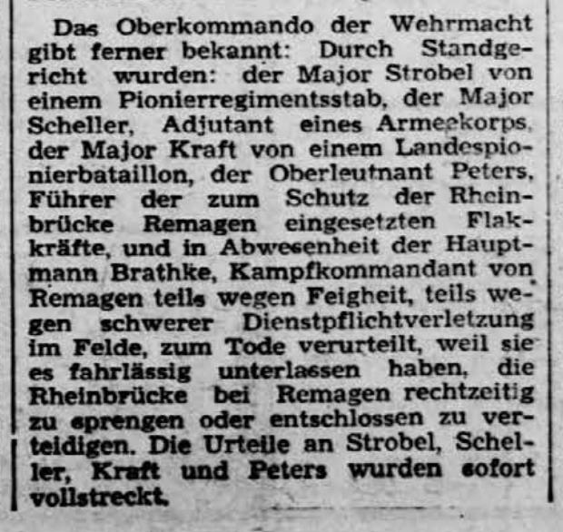 Zeitungsbericht vom 17. März 1945 mit der Verkündung der Hinrichtungen.