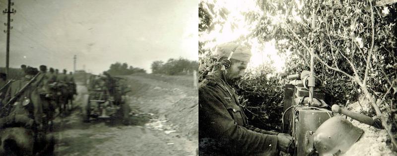 Links: Auf dem Vormarsch vorbei an den Hinterlassenschaften der zerschlagenen Französischen Armee. Rechts: Stets überwacht durch den Verbindungsmann zur Artillerie, um gegebenenfalls plötzlich auftretende Feindkräfter im Artilleriefeuer niederzukämpfen.