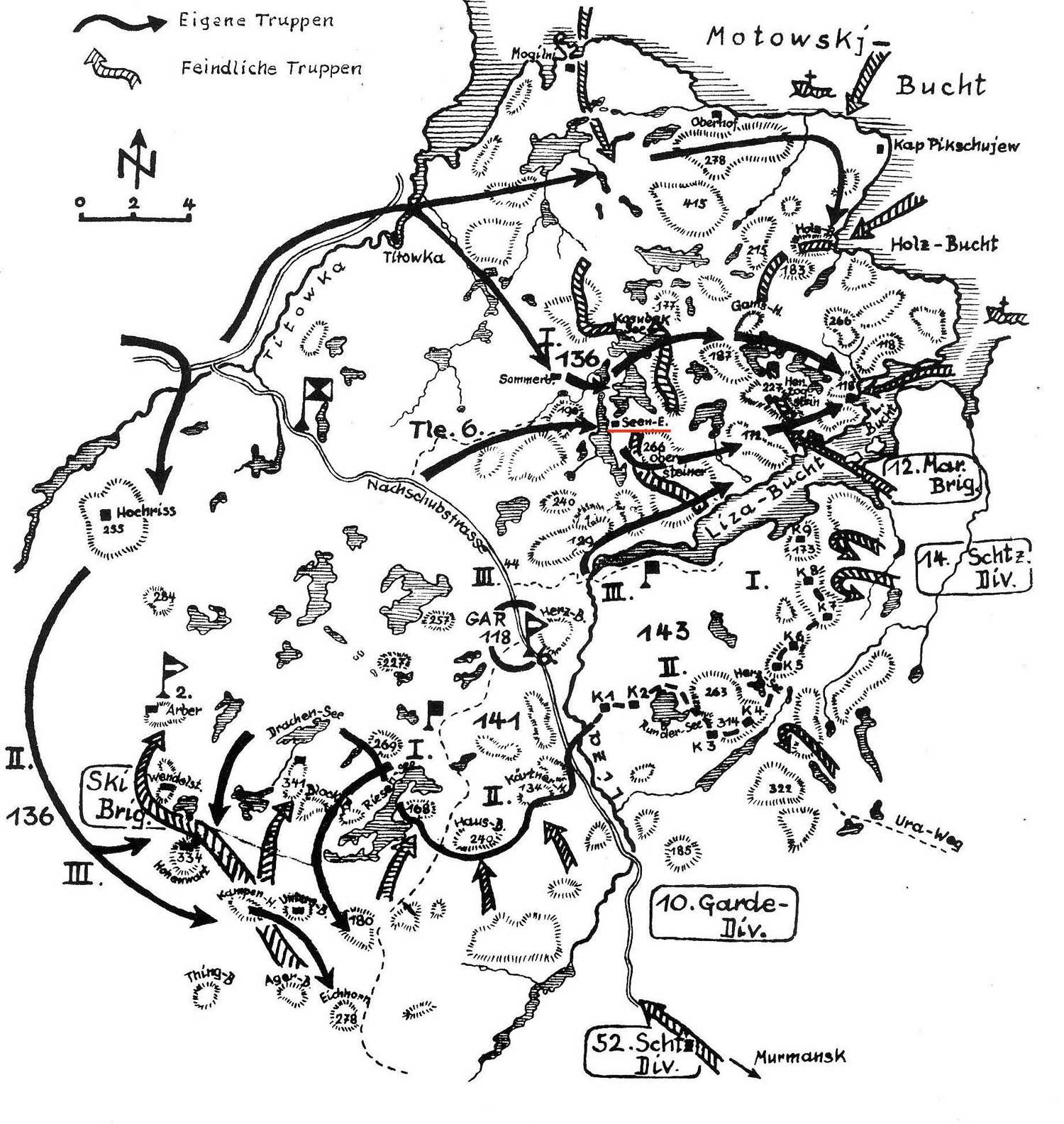 Der Kampfraum südlich des Flaschenhales zur Fischer-Halbinsel.