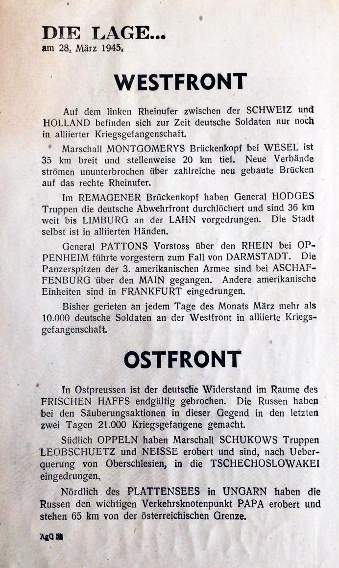 Allgemeine Kriegslage am 28. März 1945.