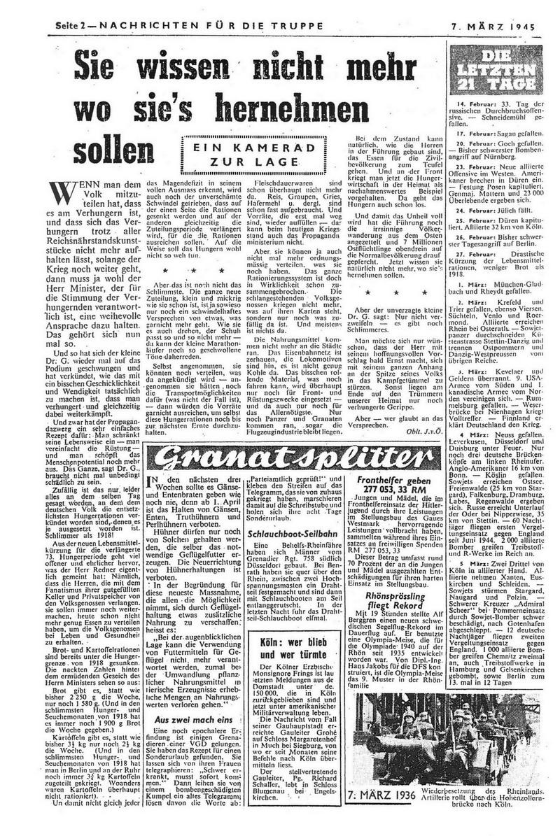 Sie wissen nicht mehr wo sie es hernehmen sollen (Ein Kamerad zur Lage) Granatsplitter Köln: Wer blieb und wer türmte Die letzten 21 Tage