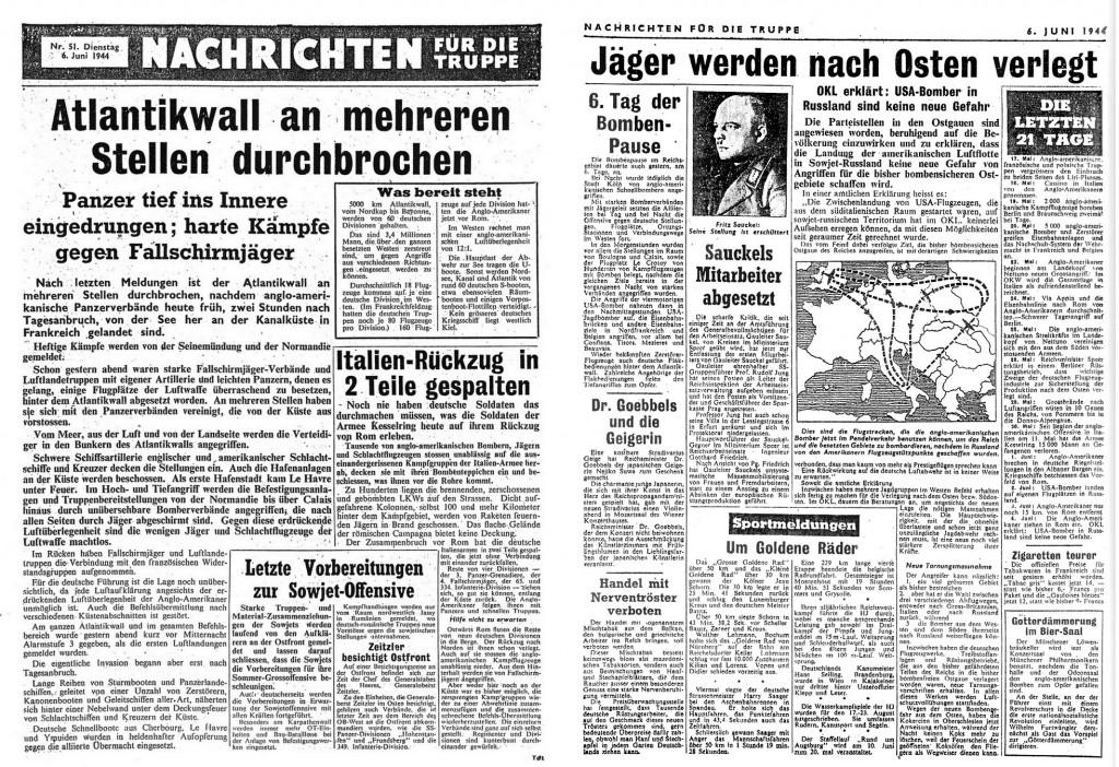 """Die Ausgabe der """"Nachrichten für die Truppe"""" vom 6.6.1944. Es handelt sich hierbei um ein Flugblatt der Alliierten, dass von 1944 an dauerhaft bis zum Kriegsende erschienen ist.   Bildgröße beträgt 2000px, also am besten Lokal auf der Festblatte abspeichern und dann betrachten."""