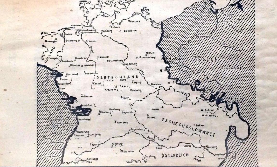 Skizze zur allgemeinen Kriegslage am 28. März 1945. Dieses Flugblatt wurde ebenfalls in Siegen abgeworfen.