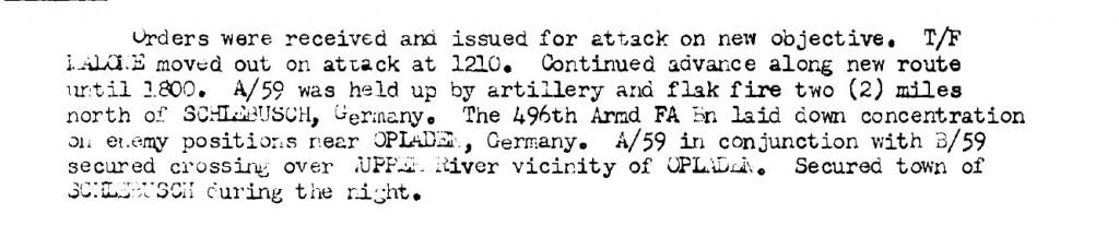Auszug aus einem After Action Report der 13. US Panzerdivision mit Angaben zu den Kämpfen im Raum Leverkusen.