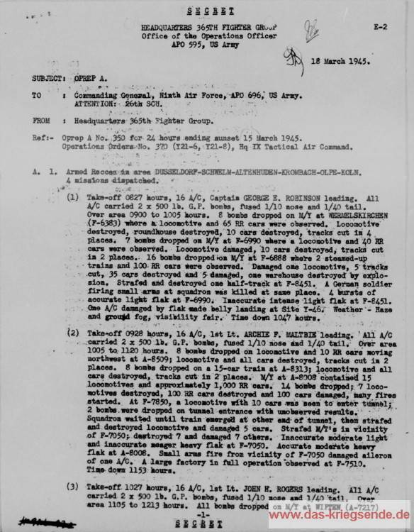 Beispiele: Gefechtsberichte, 15. März 1945