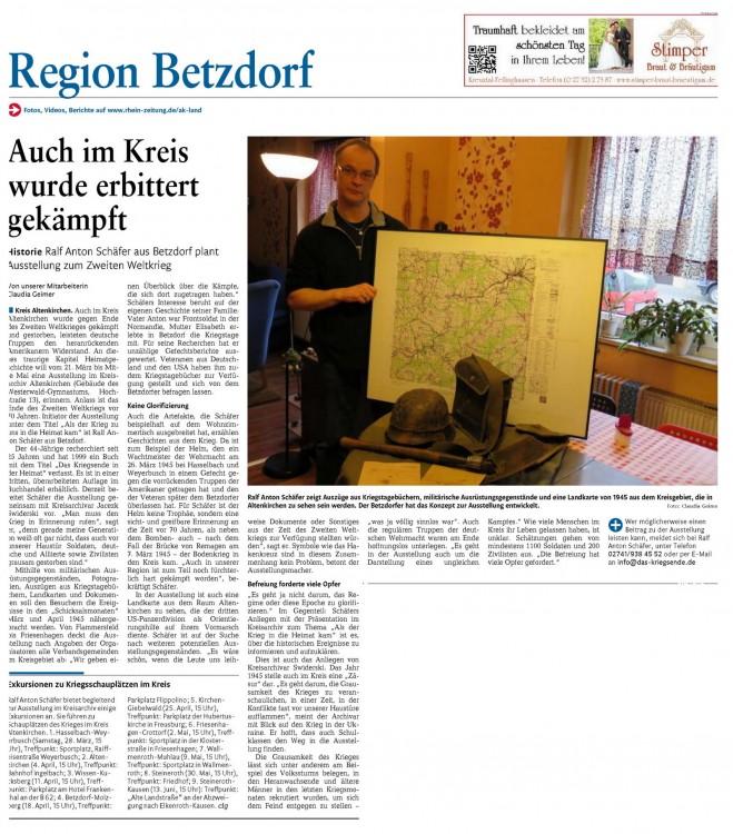 Beitrag vom 27. Februar 2015 in der Rhein-Zeitung.