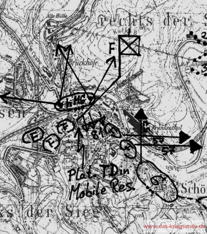 Die Lage in Wissen am 31. März vor dem Angriff über die Sieg.