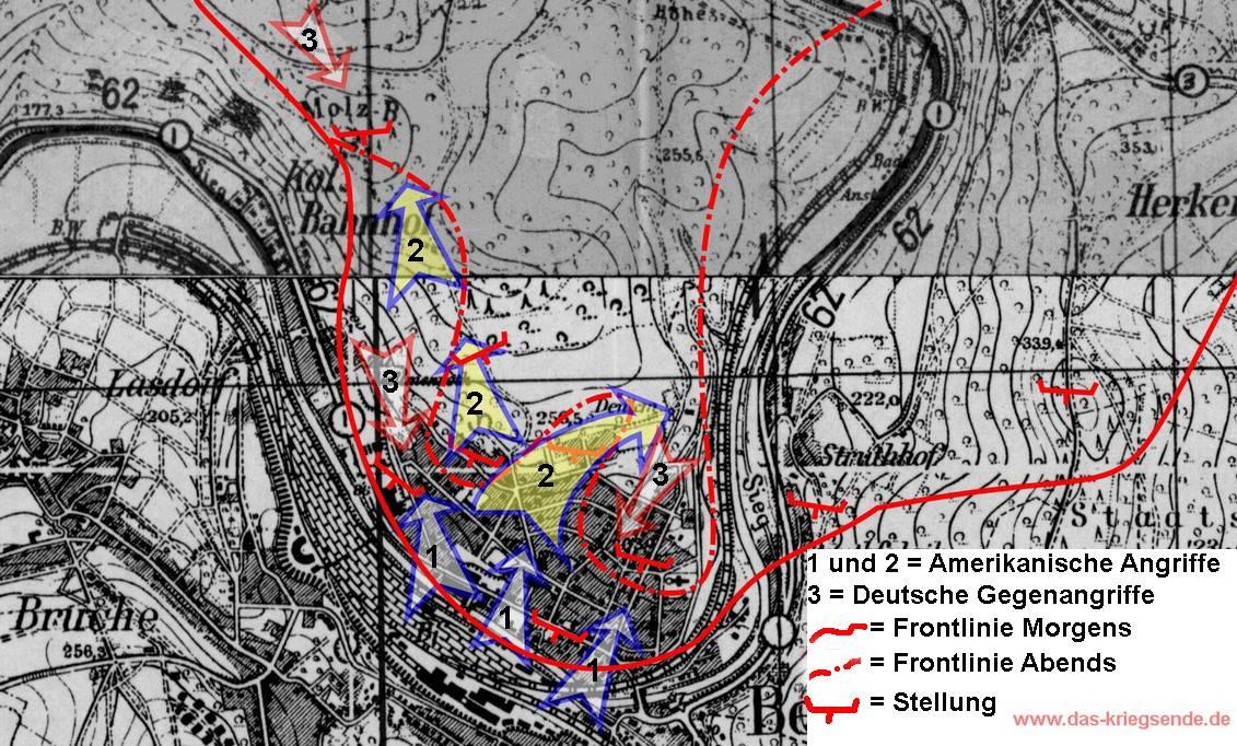 Landkarte, basierend auf das Jahr 1943. Topographische Karte aus den Beständen der 1. US Army. Eintragungen wurden anhand Angaben im Kriegstagebuch des 28. US Infanterieregiments vorgenommen.