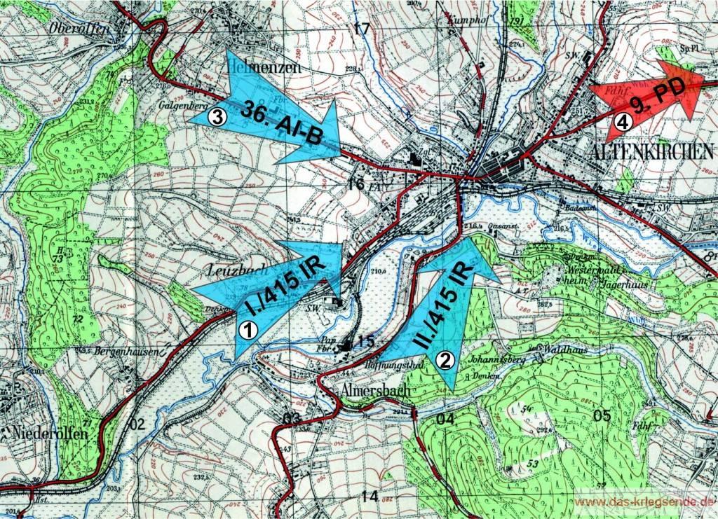 Der Einmarsch in Altenkirchen am 26. März 1945 - Karte National Archives, Washington, USA