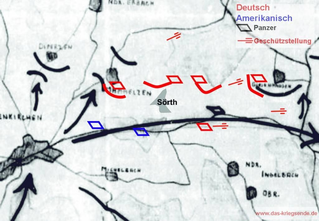 Skizze von General Bayerlein zu den Kämpfen des LIII. Armeekorps Ende März 1945. Farbig dargestellt sind die eingefügten Ergänzungen.