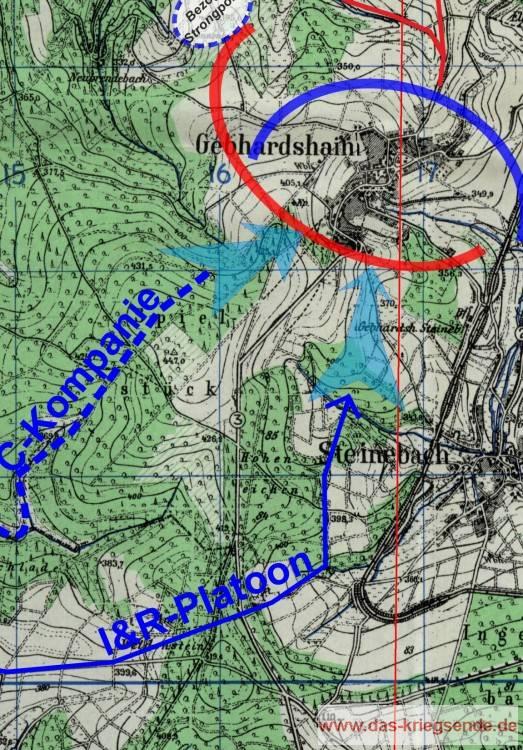 Die Eroberung von Gebhardshain - die Karte in der vollständigen Größe mit sämtlichen Eintragungen bleibt den Exkursionsteilnehmern vorbehalten.