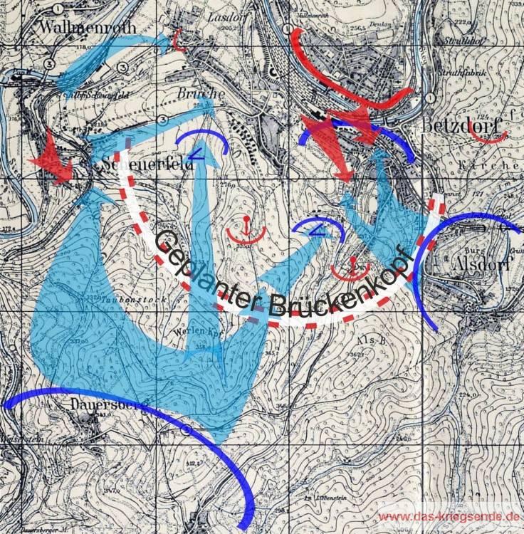 Der Frontbereich zwischen Betzdorf - Scheuerfeld und Alsdorf mit dem geplanten deutschem Brückenkopf, angefertigt nach Overlay der 1. US Infanteriedivision. Rot = deutsche Stellungen und Bewegungen. Blau = amerikanische Stellungen und Bewegungen.