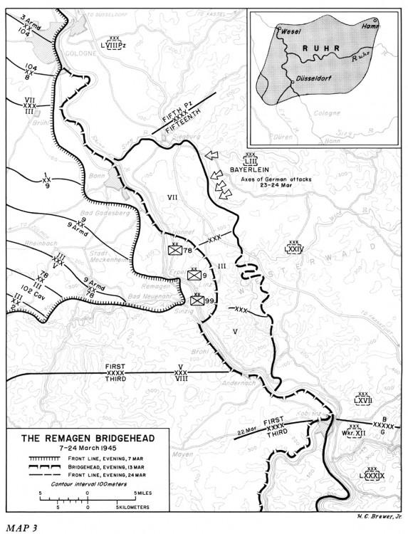 """Der Frontverlauf im Brückenkopf von Remagen zwischen dem 7. und 24. März 1945. Grafik aus """"The Last Offensive"""", Washington D.C., Government Printing Office."""