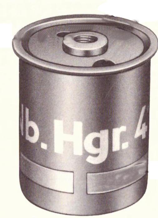 Abbildung der Nebelhandgranate 41 - ohne eingeschraubten Zünder. Abbildung: Heeresdienstvorschrift 1103 / Heft 1, Nebelmittel, Beschreibung und Bedienungsanleitung
