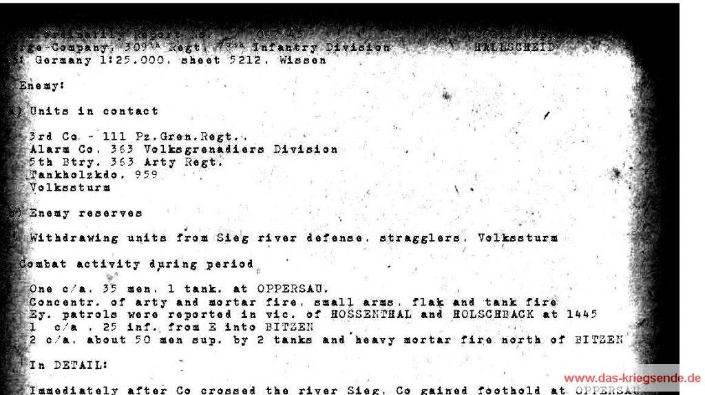 Auszug aus einem amerikanischen Gefechtsbericht vom 6. April 1945