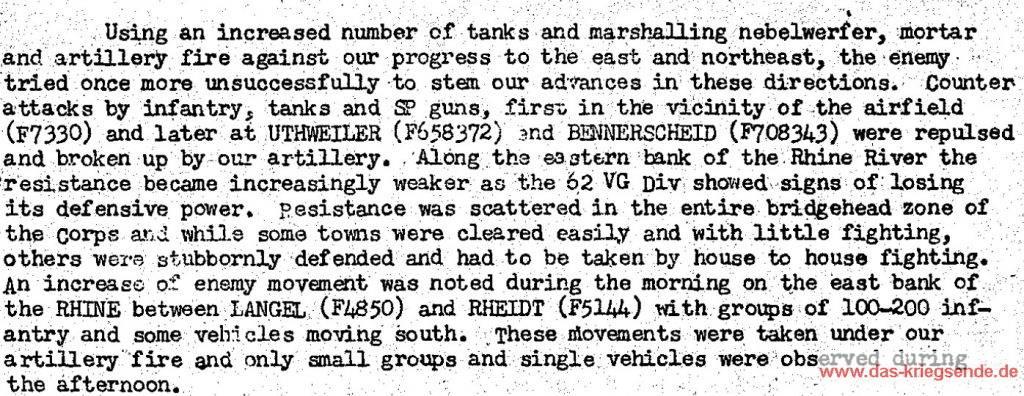 Auszug aus einem Kriegstagebuch des amerikanischen VII Armeekorps.
