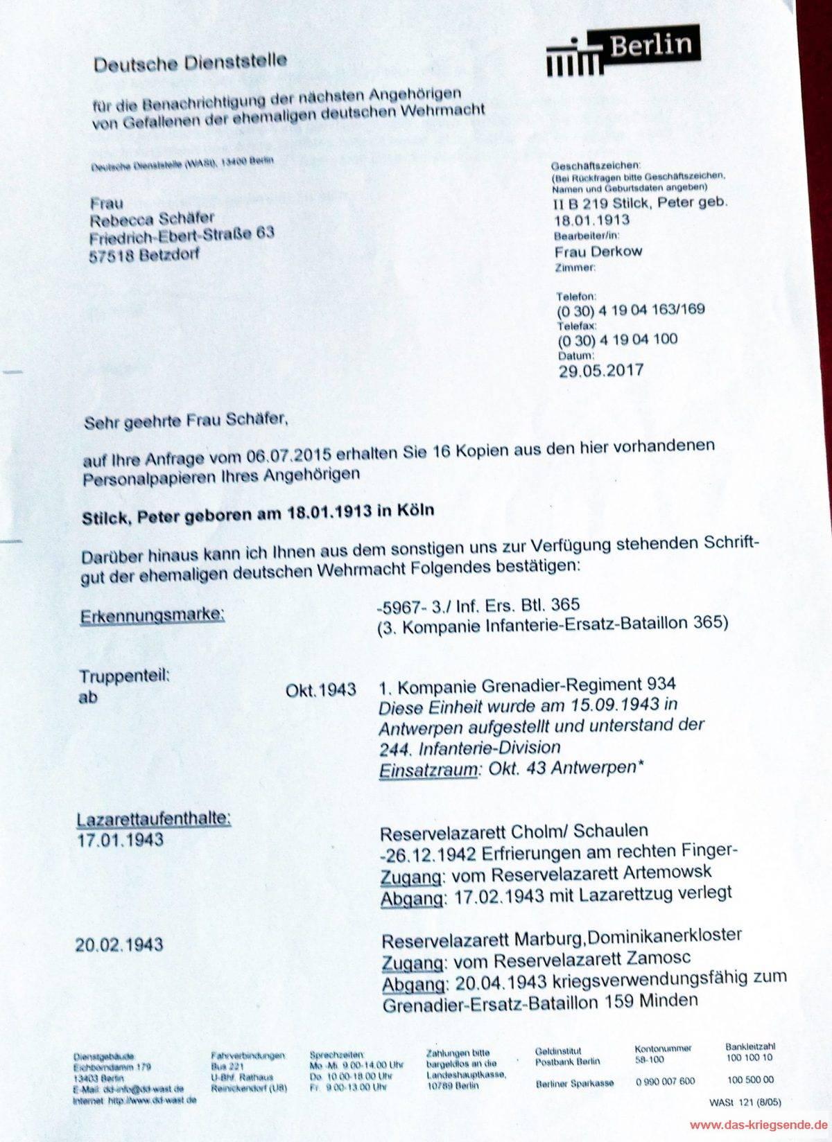 Fall Peter Stilck - Auskunft in Form eines tabellarischen Lebenslauf.