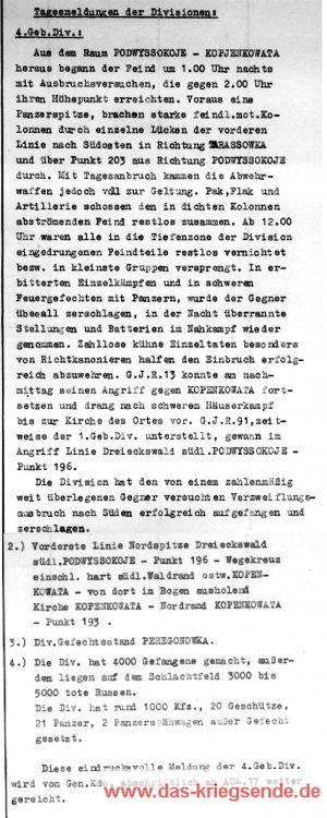 Tagesmeldung der Division vom 6. August 1941