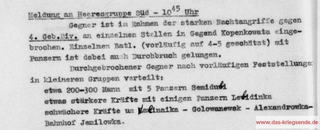 Lage bei der 4. Geb.Div. am Morgen des 6.8.1941