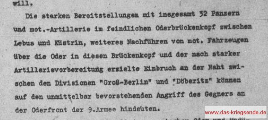 Tagesmeldung Heeresgruppe Weichsel an OKH <> 12.2.1945