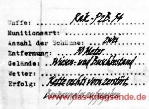 Ausschnitt eines Einlegeblattes für in das Soldbuch des Leutnants Klimetzek zu einem im Hanfbach ausgeschalteten Sherman-Panzer