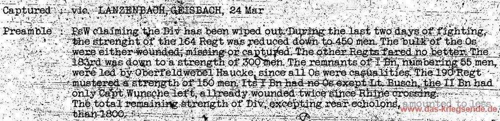 """Ausschnitt aus """"First Army Prisoner Interogations Report"""" in dem die beiden Soldaten Leutnant Hans Berg und der Gefreite Walter Mikoleit namentlich erwähnt werden."""