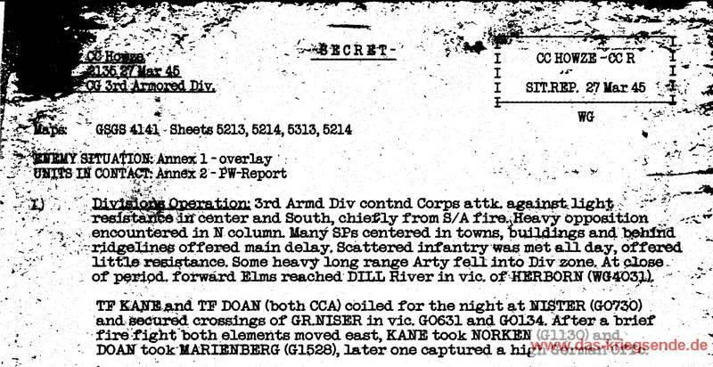 Ausschnitt aus dem Situation Report vom 27. März 1945
