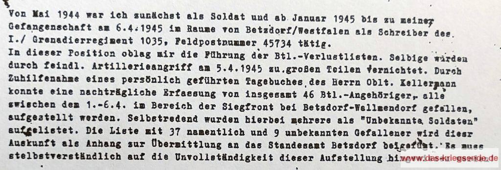 Auszug aus der eidesstattlichen Versicherung zum Vermisstenschicksal des Bruno Dornberg
