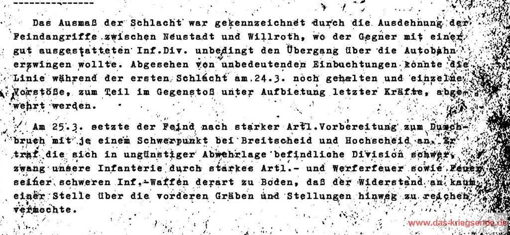 "Auszug aus dem Gefechtsbericht ""Zum Kampf der 272. VGD ostwärts des Rheins"""